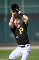 Pittsburgh Pirates outfielder Corey Dickerson (12) catches a fly ball during the teams first Spring Training practice on February 18, 2019 at Pirate City in Bradenton, Florida.  (Mike Janes/Four Seam Images)