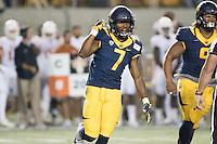 BERKELEY, CA - September 17, 2016: Cal defender (7) Khari Vanderbilt celebrates a tackle against Texas at Cal Memorial Stadium.