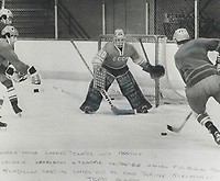 Man to beat: Vladislav Tretiak; goaie for the Soviet National hockey team; moves out of the net to successfully attacker during Soviet team's practice session in Quebec' city yesterday. Tretiak; one of Soviet stars during 1973 summit series; and the other Russian players whizzed through two workouts in preparation for 8-game series which opens in Quebec city tomorrow.<br /> <br /> PHOTO :  Jeff Goode - Toronto Star Archives - AQP