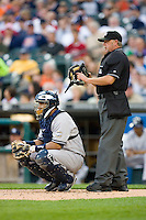 New York Yankees catcher Jose Molina #26 and home plate umpire Jim Joyce at Comerica Park April 27, 2009 in Detroit, Michigan.  Photo by Brian Westerholt / Four Seam Images