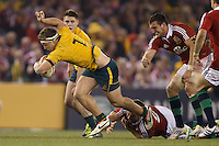 MELBOURNE, 29 JUNE 2013 - Michael HOOPER of the Wallabies evades a tackle during the Second Test match between the Australian Wallabies and the British & Irish Lions at Etihad Stadium on 29 June 2013 in Melbourne, Australia. (Photo Sydney Low / sydlow.com)
