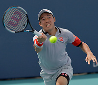 MIAMI GARDENS, FL - MARCH 27: Kei Nishikori (JPN) defeats Aljaz Bedene (SLO) on day 6 of the Miami Open on March 27, 2021 at Hard Rock Stadium in Miami Gardens, Florida<br /> <br /> <br /> People:  Kei Nishikori
