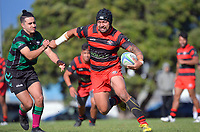 Action from the Wellington premier men's club rugby preseason match between Poneke and Wainuiomata at Kilbirnie Park in Wellington, New Zealand on Saturday, 3 April 2021. Photo: Dave Lintott / lintottphoto.co.nz
