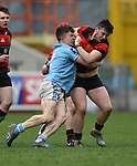 Derry Gleeson of Garryowen  in action against Conor Hassett of Ennis during their U-18 Munster Club Final at Thomond Park. Photograph by John Kelly.