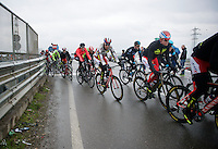 2014 edition winner Alexander Kristoff (NOR/Katusha) escorted by his team during the race<br /> <br /> 106th Milano - San Remo 2015