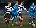Montrose's Ross McCord tries to squeeze past Shire's Lloyd Kinnaird and David Bates.
