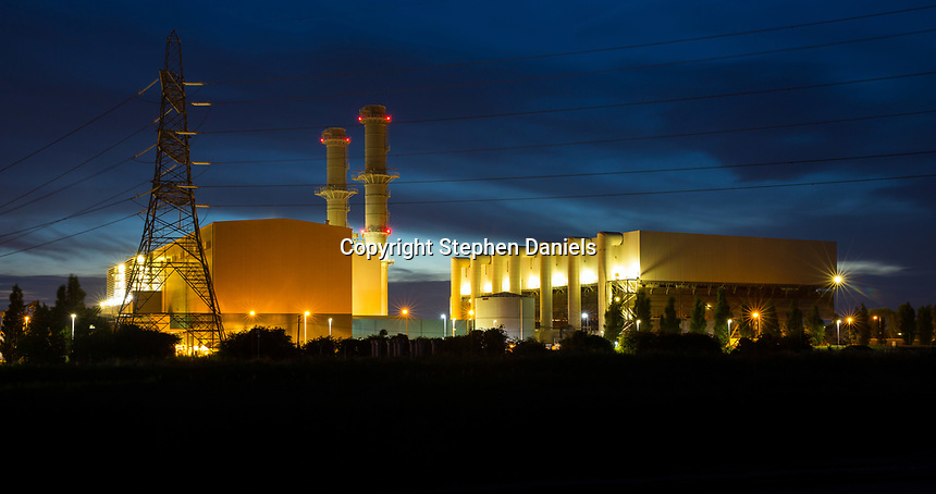Photo by ©Stephen Daniels; Spalding Energy Co.Ltd - Internee, Spalding Power Station, West Marsh Road, Spalding, Lincolnshire. Night view landscape