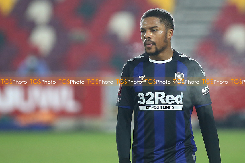 Chuba Akpom of Middlesbrough during Brentford vs Middlesbrough, Emirates FA Cup Football at the Brentford Community Stadium on 9th January 2021