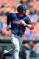 Pawtucket Red Sox outfielder Bryce Brentz #25 during the first game of a doubleheader against the Buffalo Bisons on April 25, 2013 at Coca-Cola Field in Buffalo, New York.  Pawtucket defeated Buffalo 8-3.  (Mike Janes/Four Seam Images)