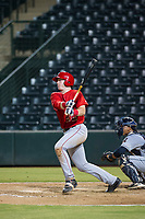 AZL Angels first baseman Brennan Morgan (22) bats during a game against the AZL Indians on August 7, 2017 at Tempe Diablo Stadium in Tempe, Arizona. AZL Indians defeated the AZL Angels 5-3. (Zachary Lucy/Four Seam Images)