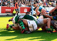9th October 2021; Brentford Community Stadium, Brentford, London; Gallagher Premiership Rugby, London Irish versus Leicester Tigers; Hanro Liebenberg of Leicester Tigers dives over to score a try