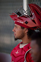 Los Angeles Angels catcher William Mendoza (3) during an Extended Spring Training game against the Chicago Cubs at Sloan Park on April 14, 2018 in Mesa, Arizona. (Zachary Lucy/Four Seam Images)
