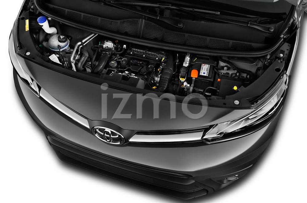 Car Stock 2017 Toyota Proace-Verso Medium 5 Door Passenger Van Engine  high angle detail view