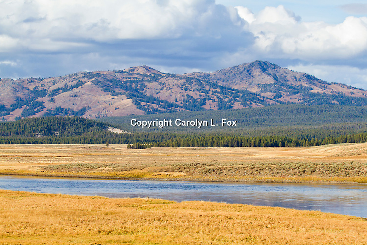Blue sky and clouds are above the mountains, river, grasses and trees of Yellowstone National Park.
