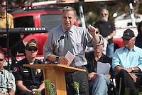May 23, 2013: Ocean Beach, San Diego, California, USA:  Major Bob Filner speaks at the San Diego Lifeguard Bronze Memorial Dedication Ceremony.