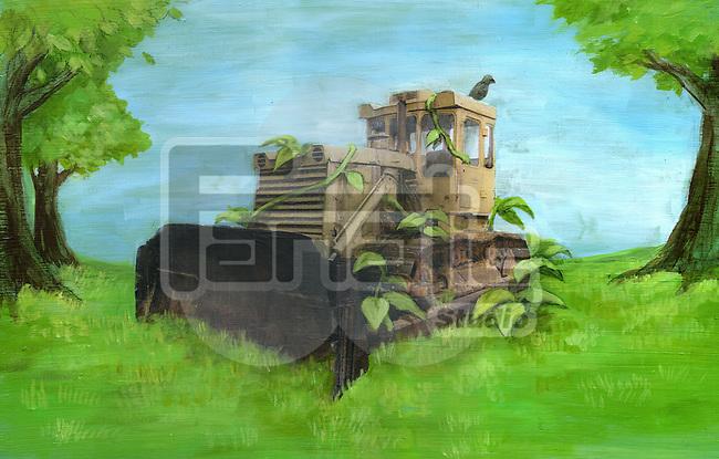 Illustration of damaged wheel loader on greenery representing go green concept