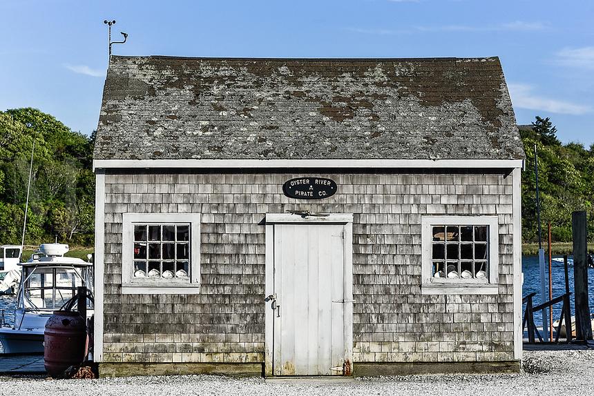 Weathered fishing shack, Oyster River, Chatham, Cape Cod, Massachusetts, USA.