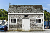 Weathered fishing shack, Oyster River, Chatham, Cape Cod, Massachusetts, USA.