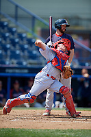 Reading Fightin Phils catcher Austin Bossart (18) throws to second base in front of Jantzen Witte (22) during the second game of a doubleheader against the Portland Sea Dogs on May 15, 2018 at FirstEnergy Stadium in Reading, Pennsylvania.  Reading defeated Portland 9-8.  (Mike Janes/Four Seam Images)