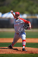 Ball State Cardinals starting pitcher BJ Butler (22) delivers a pitch during a game against the Villanova Wildcats on March 3, 2017 at North Charlotte Regional Park in Port Charlotte, Florida.  Ball State defeated Villanova 3-1.  (Mike Janes/Four Seam Images)