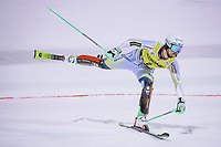 22nd December 2020, Madonna di Campiglio, Italy; FIS Mens slalom world cup race; 2nd placed Sebastian Foss Solevaag of Norway crosses the finish line during his 2nd run of mens Slalom