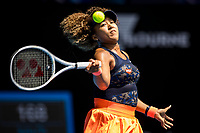 16th February 2021, Melbourne, Victoria, Australia; Naomi Osaka of Japan returns the ball during the quarterfinals of the 2021 Australian Open on February 16 2021, at Melbourne Park in Melbourne, Australia.