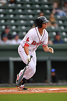Third baseman Bobby Dalbec (23) of Greenville Drive bats in a game against the Asheville Tourists on Wednesday, May 3, 2017, at Fluor Field at the West End in Greenville, South Carolina. Greenville won, 8-0. (Tom Priddy/Four Seam Images)