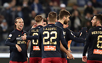 Calcio, Serie A: Lazio - Genoa, Roma, Stadio Olimpico, 5 Febbraio 2018. <br /> Genoa's Diego Laxalt (l) celebrates with his teammates after winning 2-1 the Italian Serie A football match between Lazio and Genoa at Rome's Stadio Olimpico, February 5, 2018.<br /> UPDATE IMAGES PRESS/Isabella Bonotto