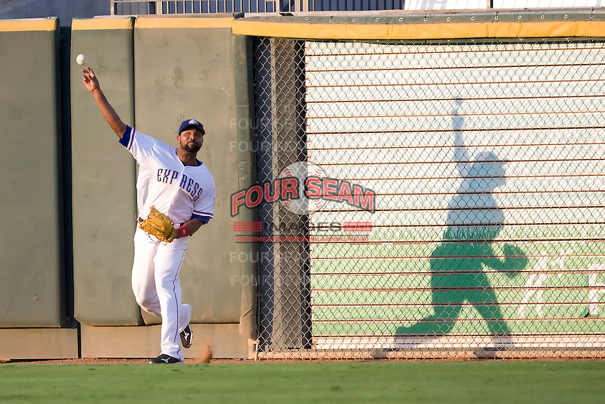 Round Rock Express outfielder Joey Butler #16 throws the ball back to the infield during a game against the New Orleans Zephyrs at the Dell Diamond on July 21, 2011 in Round Rock, Texas.  New Orleans defeated Round Rock 7-4.  (Andrew Woolley/Four Seam Images)