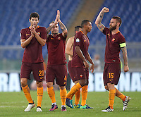 Calcio, Serie A: Roma vs Inter. Roma, stadio Olimpico, 2 ottobre 2016.<br /> From left, Roma's players Federico Fazio, Radja Nainggolan, Juan Jesus and Daniele De Rossi greet fans at the end of an the Italian Serie A football match between Roma and FC Inter at Rome's Olympic stadium, 2 October 2016. Roma won 2-1.<br /> UPDATE IMAGES PRESS/Isabella Bonotto