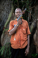 An Anti-Balaka (Anti-Machete) fighter holding an antiquated pistol. In late 2012 after years of instability and conflict, the Seleka, a predominantly Muslim rebel group, fuelled by grievances against the government, overran the country and, In March 2013, ousted President Francois Bozize, who fled the country. The rebel's leader Michel Djotodia was proclaimed president in August 2013. He disbanded the Seleka in September 2013 but law and order collapsed and ex-Seleka fighters roamed the country committing atrocities against the civilian population. In an attempt to defend their lives and property vigilante groups, calling themselves Anti-Balaka (Anti-Machete), formed to confront the ex-Seleka fighters but soon began to take reprisals against the wider Muslim population and the conflict became increasingly sectarian. By December 2013, with international fears of a genocide being voiced, French led peacekeepers deployed to the country began to act on a UN mandate to disarm the fighters and protect the civilian population. However, they have struggled to contain the situation. Much of the Muslim population, in particular, have been forced into ghettos where they are suffering from food shortages and limited access to healthcare. Often, only a few peacekeepers stand between them and a massacre by vengeful Anti-Balaka militants. UN reports describe 'thousands' killed, while over 600,000 people have been internally displaced and a further 200,000 have fled the county.