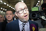 © Joel Goodman - 07973 332324 . 24/02/2017 . Stoke-on-Trent , UK . Pursued by media , PAUL NUTTALL leaves the count in the by-election for the constituency of Stoke-on-Trent Central after losing , at Fenton Manor Sports Complex . Photo credit : Joel Goodman