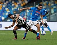 11th September 2021; Maradona Stadium, Naples, Italy; Serie A football, SSC Napoli versus Juventus  FC: Alvaro Morata of Juventus  and Kostantinos Manolas of Napoli challenge for possession