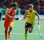 The Hague, Netherlands, June 15: Wouter Jolie #7 of The Netherlands and Jacob Whetton #12 of Australia fight for the ball during the field hockey gold match (Men) between Australia and The Netherlands on June 15, 2014 during the World Cup 2014 at Kyocera Stadium in The Hague, Netherlands. Final score 6-1 (2-1)  (Photo by Dirk Markgraf / www.265-images.com) *** Local caption ***
