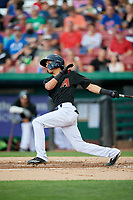 Kane County Cougars shortstop Ryan Dobson (4) follows through on a swing during a game against the South Bend Cubs on July 21, 2018 at Northwestern Medicine Field in Geneva, Illinois.  South Bend defeated Kane County 4-2.  (Mike Janes/Four Seam Images)