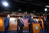 """United States Senate Majority Leader Chuck Schumer (Democrat of New York) joins Senate and House leaders for a news conference ahead of House consideration of the """"Equality Act,"""" which would expand the Civil Rights Act of 1964 and other laws """"to extend anti-discrimination protections for both sexual orientation and gender identity"""", at the U.S. Capitol in Washington, DC, Thursday, February 25, 2021. Credit: Rod Lamkey / CNP /MediaPunch"""
