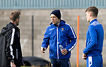 St Johnstone Training….01.10.20     <br />Murray Davidson and Jason Kerr pictured talking with coach Steven MacLean during training at McDiarmid Park ahead of Sundays game against Celtic.<br />Picture by Graeme Hart.<br />Copyright Perthshire Picture Agency<br />Tel: 01738 623350  Mobile: 07990 594431