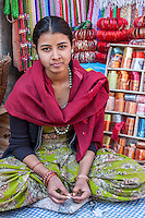 Bhaktapur, Nepal.  Woman Selling Bracelets.