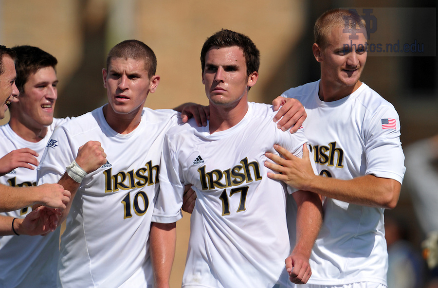 Sept. 9, 2012; Ryan Finley (17) celebrates with teammates after a goal against Akron. Notre Dame won 3-1...Photo by Matt Cashore/University of Notre Dame