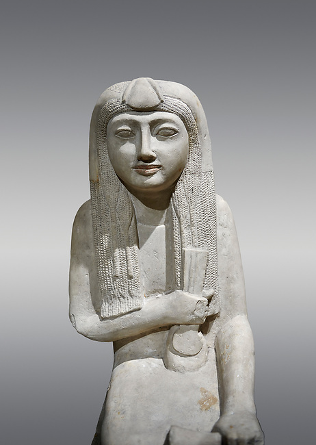 """Ancient Egyptian statue of Hel, limestone, New Kingdom, late 18th Dynasty, (1320-1280 BC), Saqqara. Egyptian Museum, Turin. Grey background.<br /> <br /> The women is seated on a cushioned stool. On her head is a lotus flower. In her left hand she holds a cloth in her right a counterweight for a meant necklace, a ritual instrument used in the cult of the goddess Hathor. the statue probably stood in a tomb in Saqqara necropolis of Memphis, where the Egyptian eletes of the time had splendid tombs with statues of s similar style. The inscription evokes the deceased """"everything that comes forth in the presence of the gods of Memphis for Osiris, the lady of Hel..."""""""