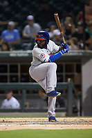 Dwight Smith Jr. (21) of the Buffalo Bison at bat against the Charlotte Knights at BB&T BallPark on August 14, 2018 in Charlotte, North Carolina. The Bison defeated the Knights 14-5.  (Brian Westerholt/Four Seam Images)