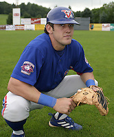 July 31, 2004:  Catcher Luke Montz of the Vermont Expos during a game at Russell Diethrick Park in Jamestown, NY.  Vermont is the Short Season Single-A NY-Penn League affiliate of the Montreal Expos (Washington Nationals).  Photo By Mike Janes/Four Seam Images