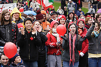 Montreal (QC) CANADA - April  9, 2012 - Quebec students on strike againt tuition fees increase, gather at Place Emile Gamelin