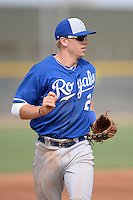 Kansas City Royals third baseman Hunter Dozier (2) during an Instructional League game against the Texas Rangers on October 9, 2013 at Surprise Stadium Training Complex in Surprise, Arizona.  (Mike Janes/Four Seam Images)