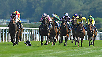 Kodiac Pride ridden by Kaia Ingolfsland and trained by Sir Mark Prescott left loses his weight cloth and weighed in underweight after finishing first past the post  during Horse Racing at Salisbury Racecourse on 9th August 2020