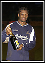 25/1/03       Copyright Pic : James Stewart                  .File Name : stewart-falkirk v hearts 12.COLLIN SAMUEL CELEBRATES AT THE END OF THE GAME WITH HIS MAN OF THE MATCH AWARD......James Stewart Photo Agency, 19 Carronlea Drive, Falkirk. FK2 8DN      Vat Reg No. 607 6932 25.Office : +44 (0)1324 570906     .Mobile : + 44 (0)7721 416997.Fax     :  +44 (0)1324 570906.E-mail : jim@jspa.co.uk.If you require further information then contact Jim Stewart on any of the numbers above.........