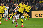 14.02.2020, Signal Iduna Park, Dortmund, GER, 1. BL, Borussia Dortmund vs Eintracht Frankfurt, DFL regulations prohibit any use of photographs as image sequences and/or quasi-video<br /> <br /> im Bild / picture shows / v. li. im Zweikampf Stefan Ilsanker (#3, Eintracht Frankfurt) Thorgan Hazard (#23, Borussia Dortmund) <br /> <br /> Foto © nordphoto/Mauelshagen