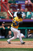Erie SeaWolves Sergio Alcantara (1) at bat during an Eastern League game against the Altoona Curve and on June 4, 2019 at UPMC Park in Erie, Pennsylvania.  Altoona defeated Erie 3-0.  (Mike Janes/Four Seam Images)