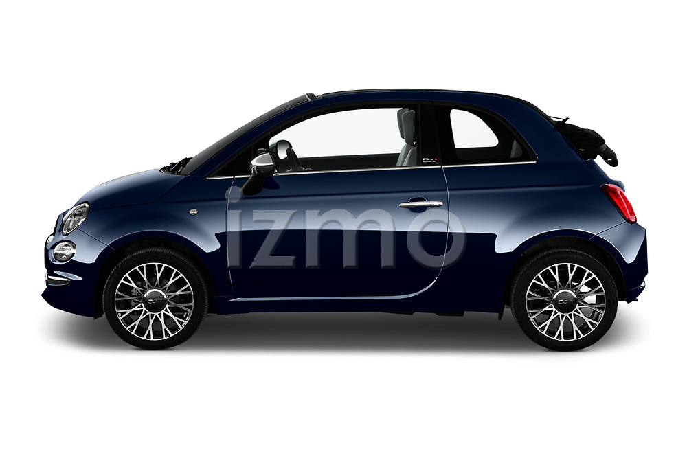 Car Driver side profile view of a 2020 Fiat 500C-HYBRID S8-Star 2 Door Convertible Side View