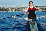 Rowing, Seattle, woman rowing single racing shell, Laura Rauchfuss, released, Pocock Rowing Foundation, High Performance Team, Lake Washington Ship Canal, Washington State, Pacific Northwest,USA, .